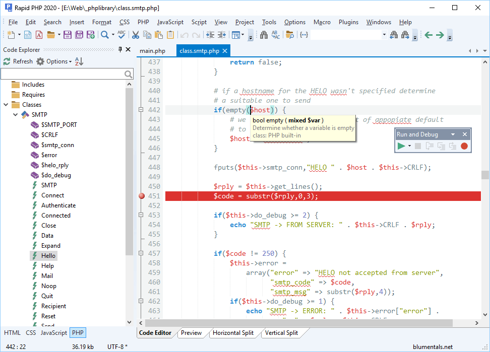 Rapid PHP editor - Highlights