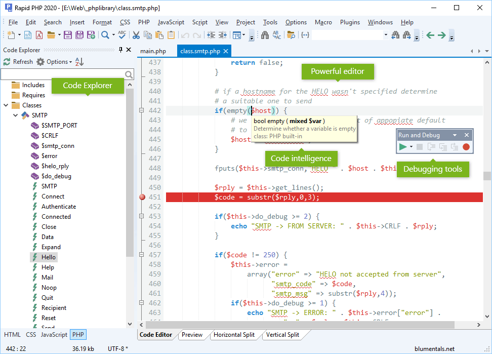 PHP editor screenshot